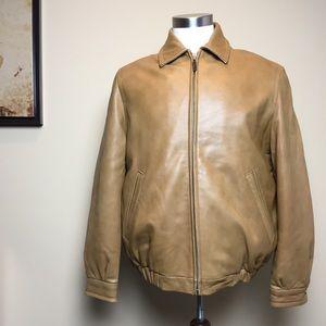 Izod Genuine Real Leather Bomber Jacket, Full Zip